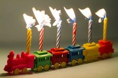 zabawek pociąg urodzinowe świeczki Zdjęcie Royalty Free