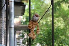 Zabawka paskujący tygrysi obsiadanie na żelaznym ogrodzeniu zdjęcia royalty free