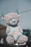 Zabawkarscy niedźwiedzi zrozumienia na clothespins 2359 zdjęcia royalty free