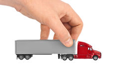 Zabawkarska samochód ciężarówka w ręce obraz royalty free