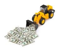 Zabawkarski ładowacz i pieniądze Obraz Stock