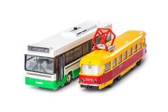 Zabawkarski autobus i tramwaj zdjęcie stock