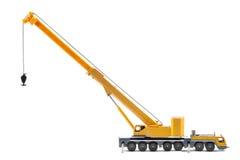 Zabawkarski ciężarowy żuraw odizolowywający nad białym backgroung obraz royalty free