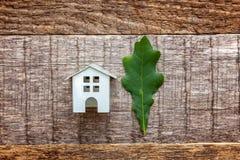 Zabawkarski dom i zieleń dębowy liść na drewnianym tle Obraz Stock