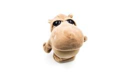 Zabawkarski hipopotama bielu tło Fotografia Royalty Free