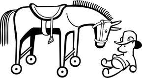 Zabawkarski koń i miś Obrazy Stock