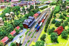 Zabawkarski kolejowy układ Fotografia Royalty Free