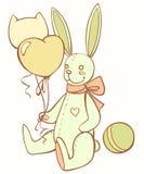 Zabawkarski misia pluszowego królik z balonami i piłką Obrazy Royalty Free