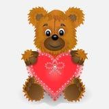 Zabawkarski niedźwiadkowy mienie w łapach kierowa pocztówka Fotografia Royalty Free