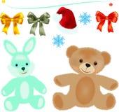 Zabawkarski niedźwiedź i zając Zdjęcia Stock