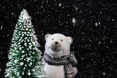 Zabawkarski niedźwiedź polarny na czarnym tle z śniegiem obok choinki fotografia royalty free