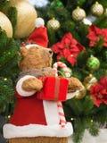 Zabawkarski niedźwiedź trzyma prezenta pudełko ubierał jako Święty Mikołaj pozycja przeciw choince obraz royalty free