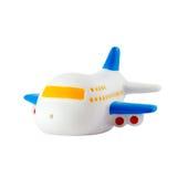 Zabawkarski pasażerski samolot odizolowywający na bielu obrazy stock