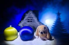 Zabawkarski pies - symbol nowy rok pod śniegiem przeciw tłu jedlinowe gałąź Zabawka pies jako symbol 2018 nowy rok Zdjęcia Stock