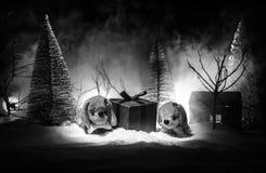 Zabawkarski pies - symbol nowy rok pod śniegiem przeciw tłu jedlinowe gałąź Zabawka pies jako symbol 2018 nowy rok Zdjęcia Royalty Free