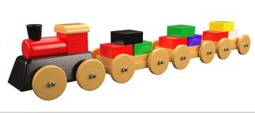 Zabawkarski pociąg na bielu Zdjęcia Royalty Free