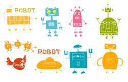 Zabawkarski robot ustawia - retro robot kolekcji wektor royalty ilustracja
