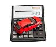 Zabawkarski samochód i kalkulator Fotografia Stock