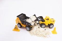 Zabawkarski samochód z piaskowatym włosy up Fotografia Stock