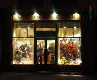 Zabawkarski sklep przy nocą Zdjęcia Stock