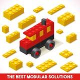 Zabawkarskie Blokowe Autobusowe gry Isometric ilustracja wektor
