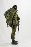 Zabawkarskiej mężczyzna 1/6 żołnierza akci postaci wojska szalkowej miniatury realistyczny biały tło Obrazy Royalty Free