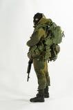 Zabawkarskiej mężczyzna 1/6 żołnierza akci postaci wojska szalkowej miniatury realistyczny biały tło Zdjęcia Royalty Free