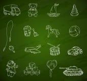 Zabawki chalkboard nakreślenia set Zdjęcia Royalty Free
