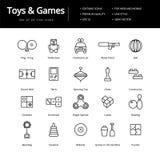 Zabawki I gry Wykładają ikony ilustracja wektor