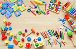 Zabawki i materiały zdjęcie stock