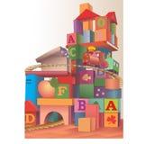Zabawki i sześciany ilustracji