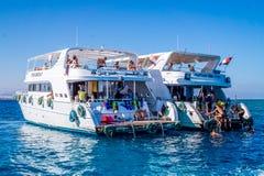 Zabawna łódkowata wycieczka nurkować Egiptu Zdjęcie Royalty Free