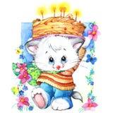 zabawna kotku wystrój dla dzieciaka Urodzinowego tła dla wakacje wat ilustracji