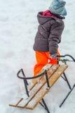 zabawnie kierowcy sledge zimy zdjęcie stock