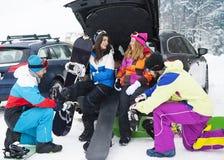 zabawnie kierowcy sledge zimy fotografia stock