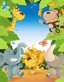 Zabawy dżungli zwierząt granica royalty ilustracja