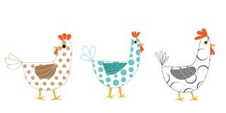 Zabawy doodle koguty i ptaki ustawiają dla projektów elementów kolaż royalty ilustracja