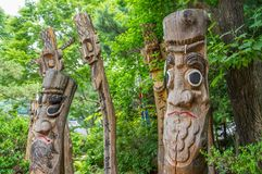 Zabawy drewno rzeźbi od Koreańskiej ludowej wioski blisko Seul, korea południowa fotografia royalty free