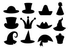 Zabawy karnawałowa świąteczna kolekcja śliczny świętowanie i przebranie sylwetki kapeluszowa czarna ilustracja odizolowywający na ilustracji