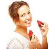 Zabawy kobieta z truskawką Zdjęcie Royalty Free