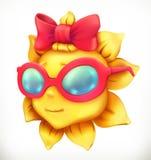 Zabawy lata słońce Mała dziewczynka, wektorowa ikona ilustracji