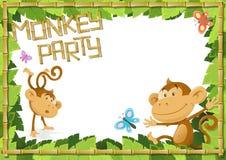 Zabawy małpy przyjęcia dżungli granica. Obraz Royalty Free