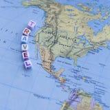 Zabawy Północna Ameryka usa podróży Kolorowa mapa Zdjęcia Stock