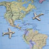 Zabawy Północna Ameryka usa podróży Kolorowa mapa z samolotami Fotografia Royalty Free