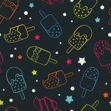 Zabawy popsicle neonowego barwionego lody bezszwowy wzór, szczęśliwy powtórki tło z gwiazdami, kolorowy i świeży - wielkimi dla l royalty ilustracja