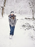 zabawy rodzinna zima Zdjęcia Royalty Free