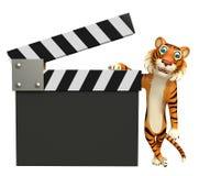 Zabawy Tygrysi postać z kreskówki z clapboard Zdjęcia Stock