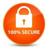 100% zabezpiecza eleganckiego pomarańczowego round guzika Zdjęcie Stock