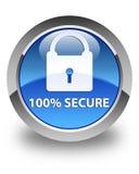 100% zabezpiecza glansowanego błękitnego round guzika Fotografia Stock