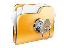 Zabezpiecza kartoteki. Falcówka z kluczem. Zdjęcie Royalty Free